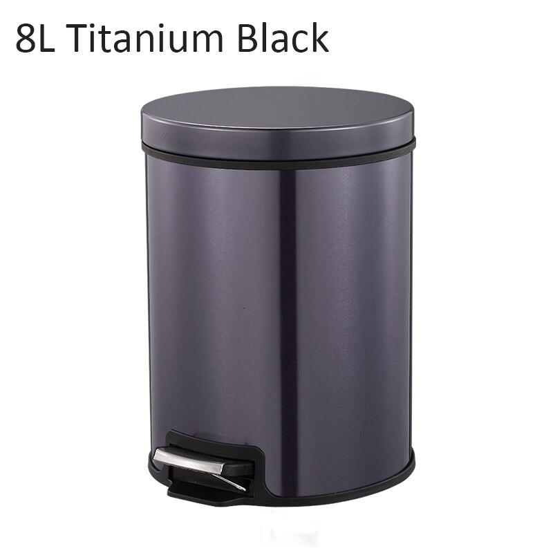 MR. BIN Макарон плюс мусорный бак с 5L/8L/12L ёмкость красочные педаль отходов Bin металлическая мусорная корзина для дома и кухня - Цвет: 8L Titanium Black