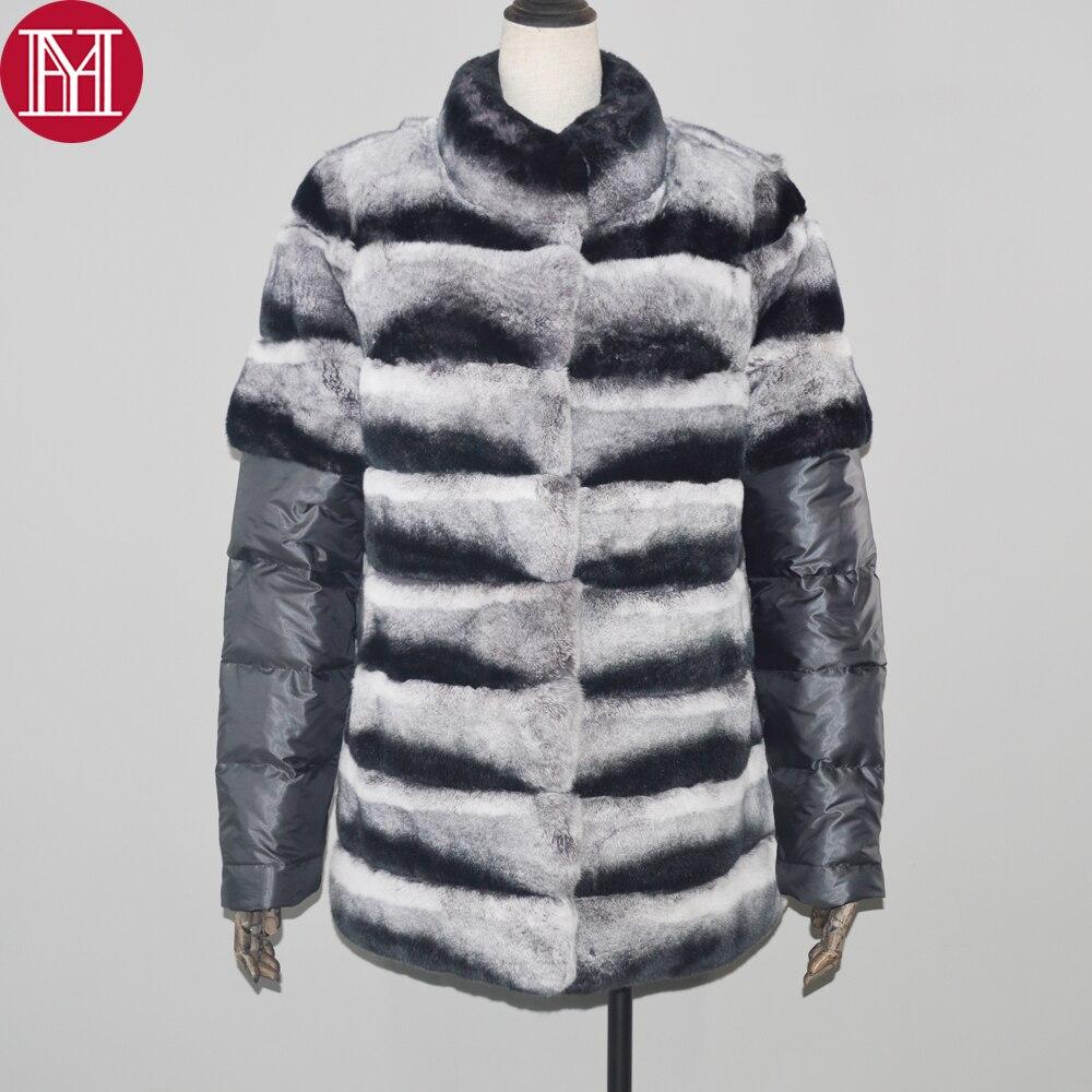Et Hiver Lapin De Doux Réel 2018 Naturel Femmes Qualité Veste Chinchilla Rex Fourrure Grey Chaud Véritable Manteau 100 Couleur Bq7f75w