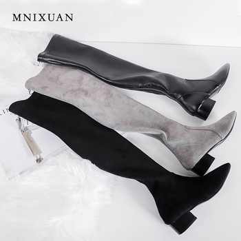 Over the knee boots for Women winter shoes thigh high 2019 fashion real leather stretch pointed toe heels full zipper long boots fedonas top fashion women winter over knee long boots women sper thin high heels autumn comfort stretch height boots shoes woman