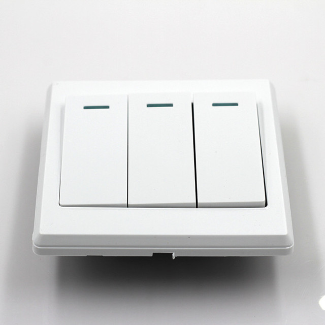 3 Switch Light Plate 2017 New Universal 10A Power 3 Gang Wall Plate Light Bulb Push .