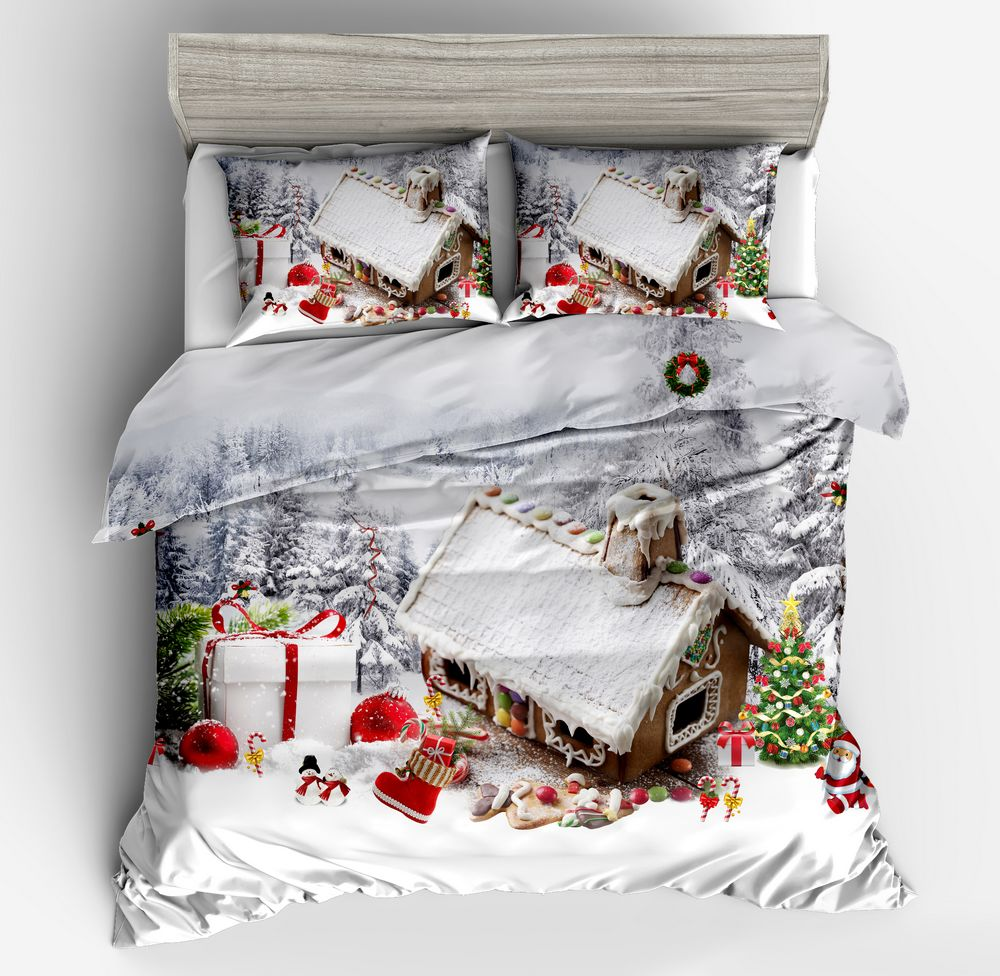 New 3d Christmas santa claus cartoon bedding sets bedclothes duvet cover pillow case   Christmas gift tree Gray Red full sizeNew 3d Christmas santa claus cartoon bedding sets bedclothes duvet cover pillow case   Christmas gift tree Gray Red full size