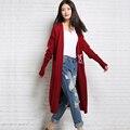 Весна осень шерстяной свитер женщин кардиган средней длины кардиган свободные свитера утолщение женщина с длинными рукавами трикотажные кардиган