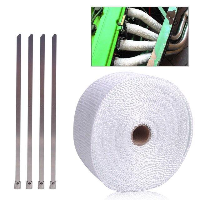 DWCX 10M Fiberglas Exhaust Pipe Manifold Header Heat Wrap Tape Roll + 4 Metal Ties Cable Zip for Harley Honda Yamaha Kawasaki