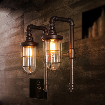 American Industrial Aisle Stairs Porch Lighting Loft Vintage Restaurant Bar 2 Heads Pipe Wall Lamps vintage loft double heads marble stone shaded