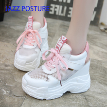 Casual shoes spring and summer new high women's shoes mesh comfortable breathable sports shoes women's vulcanized shoes y108