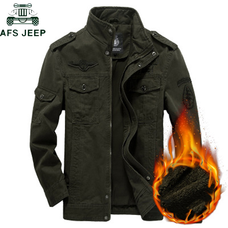 AFS JEEP Thick Warm Winter Military Jacket Cargo Fleece Male Casual Air Force Flight Jacket Plus Size 5XL 6XL Chaquetas Hombre