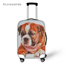 ELVISWORDS Cute Suitcase Protective Cover Elastic Dust-proof Cover Waterproof Little Bulldogs Paint Travel Luggage Accessories недорого