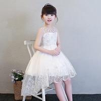 3 12Years White Flower Girl Dress Trails Lovely Princess Dress Sleeveless Ball Gown Short Front Long Back Communion Gown E241