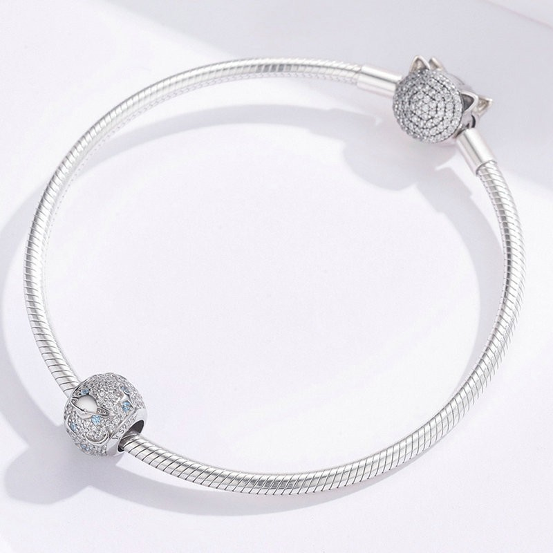 Universe Galaxy Round Beads 925 Sterling Silver Dazzling Star Planet Charm for Women Original 925 Bracelet SCC1217 in Beads from Jewelry Accessories