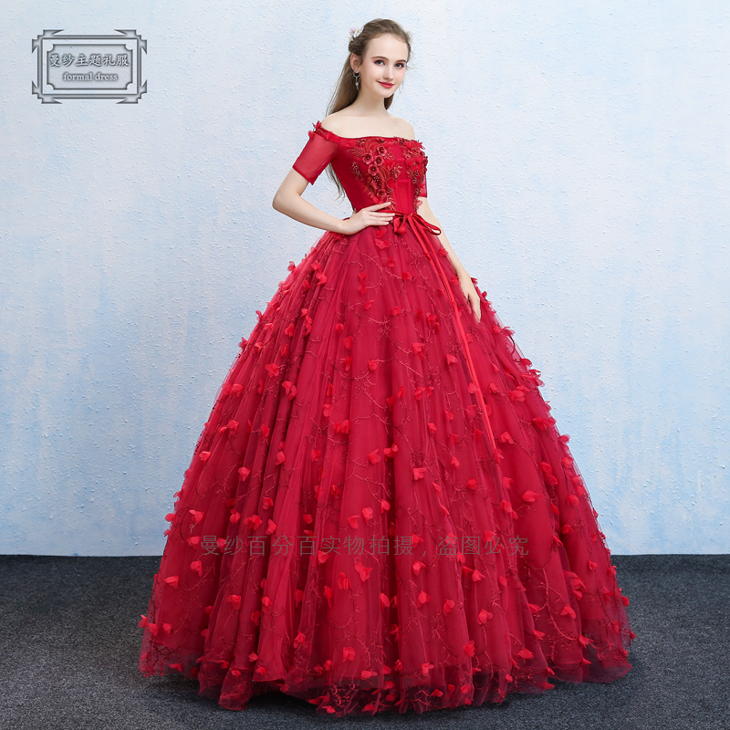 100%real luxury red petals embroidery beading barcoque cosplay gown medieval dress Renaissance queen Victorian Belle long dress