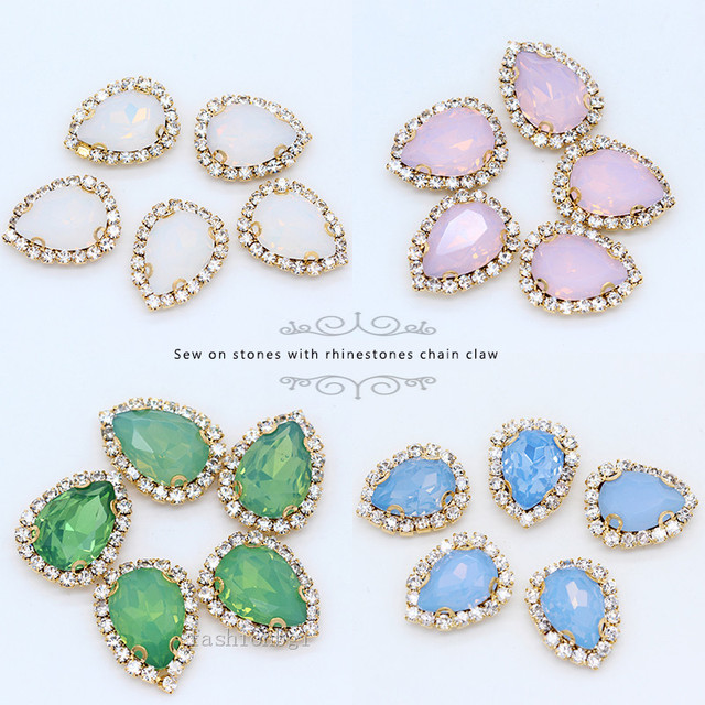 12p 18x13mm teardrop white green pink blue opal sew on glass crystal  rhinestones jewels gold base craft bridal wedding dress DIY 4e8b34122c7f