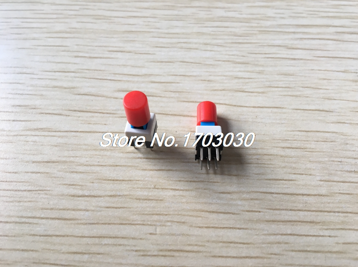 10 Pcs 7 x 7mm x 16mm Panel PCB Tact Tactile Push Button Switch Self Lock w Cap