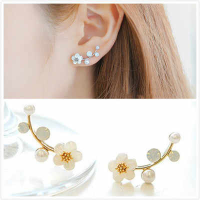 Punk 2018 New Fashion Earrings Gold / Silver Simple Ol Branches Shells Flowers Pearl Ladies Earrings Wholesale Sales Trendy