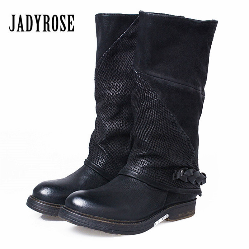 Jady Rose Black Genuine Leather Women Vinatge Riding Boots Flat Shoes Woman Mid-Calf Booties Platform Rubber Botas Militares prova perfetto yellow women mid calf boots fashion rivets studded riding boots lace up flat shoes woman platform botas militares