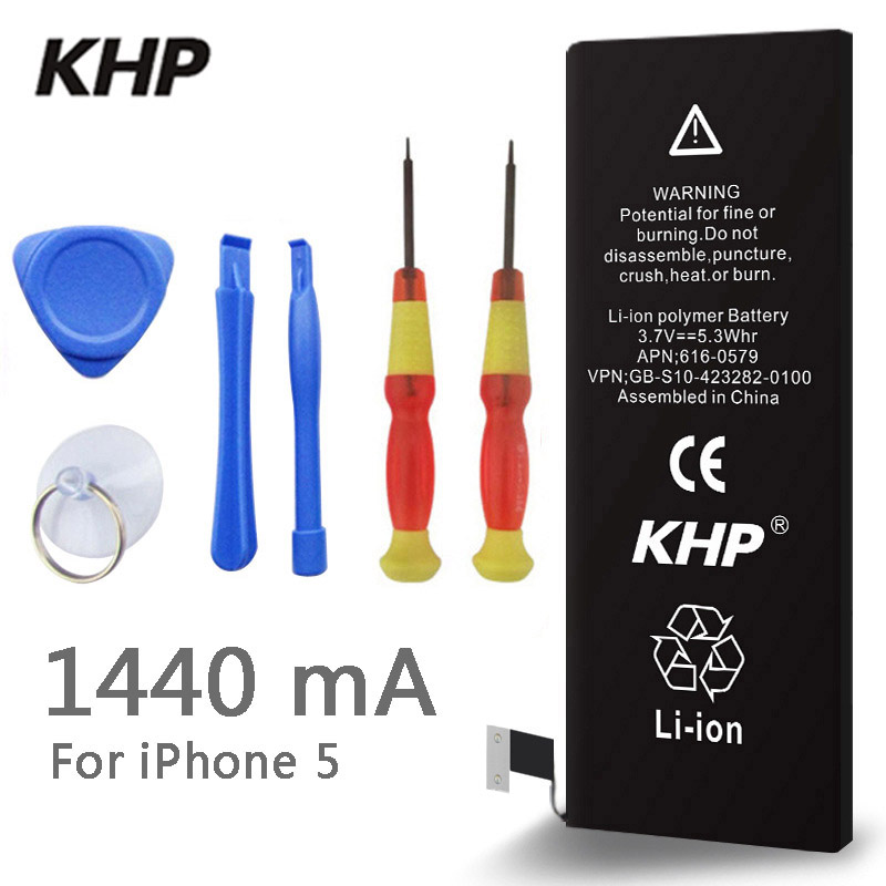2017 Nova Original KHP Bateria Do Telefone Para o iphone 5 5G Real Capacidade de 1440 mAh Com Ferramentas Kit de Substituição de Baterias Móveis 0 ciclo