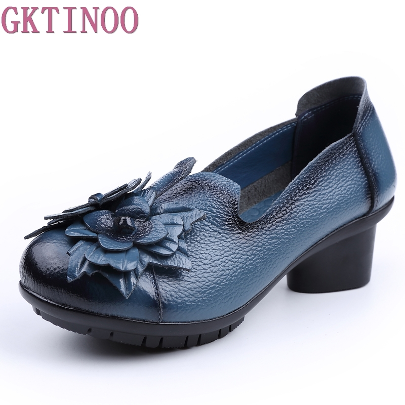 GKTINOO Spring Autumn Retro Style Handmade Shoes Women Thick With Heels Pumps Round Toe High Heels Genuine Leather Shoe yaerni 2017 retro style women shoes flats platform handmade flower genuine leather thick heels round toe women causal shoes