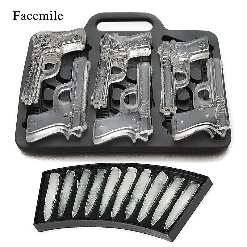 Facemile 2 Pcs/ensemble DIY Ice Cube Moule Pistolet Bullet Forme Ice Cube Tray Fruit Ice Cream Maker Cuisine Bar Potable accessoires