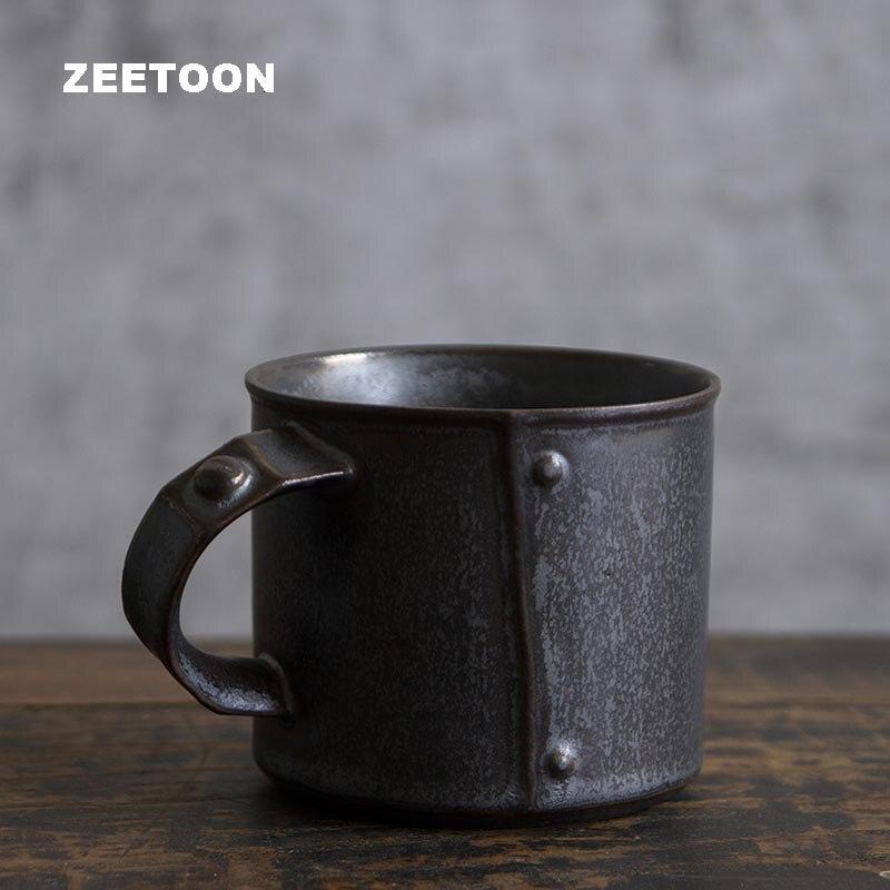 Tasse à café Vintage 260 ml céramique poterie métal glaçure Cappuccino poignée tasse Drinkware/maître tasse d'eau jus lait tasses artisanat