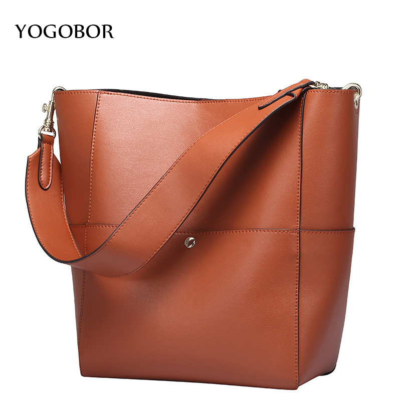 2017 Designer Women Genuine Leather Handbags Bucket Shoulder Bags Ladies Cross Body Bags Large Capacity Shopping Tote Bolsa casual women leather handbags bucket shoulder bags ladies cross body bags large capacity ladies shopping bag bolsa 6 colors