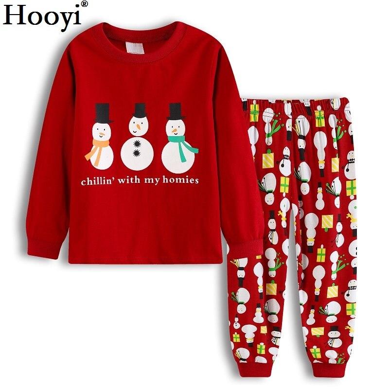 2018 De Noël Bébé Garçon Pyjamas Vêtements Costumes Rouge X'MAS Cadeau D'enfants Pyjamas Sommeil Costume Bonhomme De Neige Chillin' Avec Mes Potes 2-sept Années