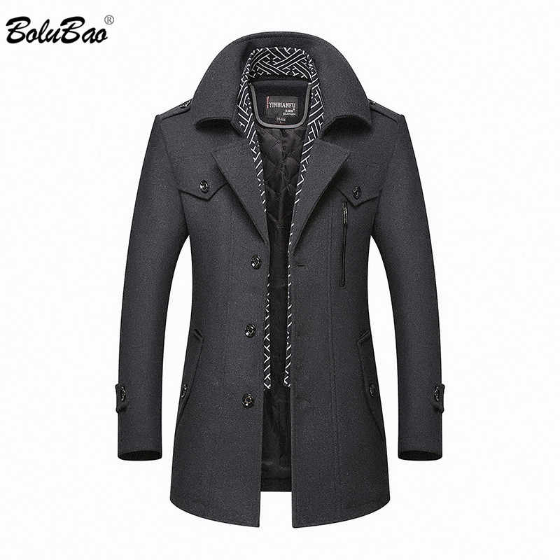 BOLUBAO Men Winter Wool Coat 2019 Men's New Casual Brand Solid Color Wool Blends Woolen Pea Coat Male Trench Coat Overcoat