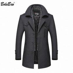 Abrigo de lana de invierno para hombre BOLUBAO 2019 nuevo abrigo de lana de Color sólido de marca informal para hombre abrigo de lana de guisante de lana para hombre
