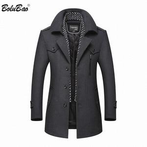 BOLUBAO Men Winter Wool Coat 2019 Men's New Casual Brand Solid Color Wool Blends Woolen Pea Coat Male Trench Coat Overcoat(China)