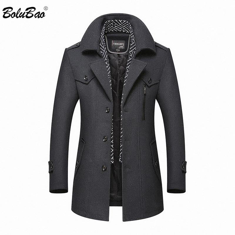 BOLUBAO Men Winter Wool Coat 2020 Men's New Casual Brand Solid Color Wool Blends Woolen Pea Coat Male Trench Coat Overcoat