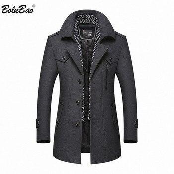 BOLUBAO Men Winter Wool Coat 2020 Men's New Casual Brand Solid Color Wool Blends Woolen Pea Coat Male Trench Coat Overcoat