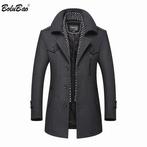 Image 1 - BOLUBAO hommes hiver laine manteau 2019 hommes nouvelle décontracté couleur unie laine mélanges laine caban mâle Trench manteau pardessus