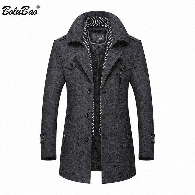 BOLUBAO hommes hiver laine manteau 2019 hommes nouvelle décontracté couleur unie laine mélanges laine caban mâle Trench manteau pardessus