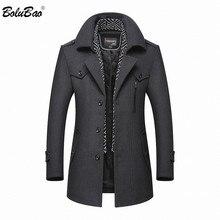 Мужское шерстяное пальто BOLUBAO, повседневное однотонное пальто Тренч из смешанной шерсти, полупальто, зима 2020