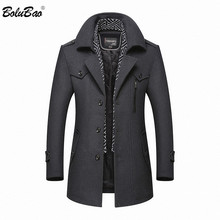 Bolubao casaco de lã para homens, casaco masculino novo de marca casual de inverno de misturas de lã 2020 sobretudo casaco
