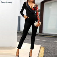 Women Deep V Neck Lace Splicing Jumpsuit Long Sleeve Skinny Office Lady Elegant Spring Fall Streetwear Fashion Jumpsuits