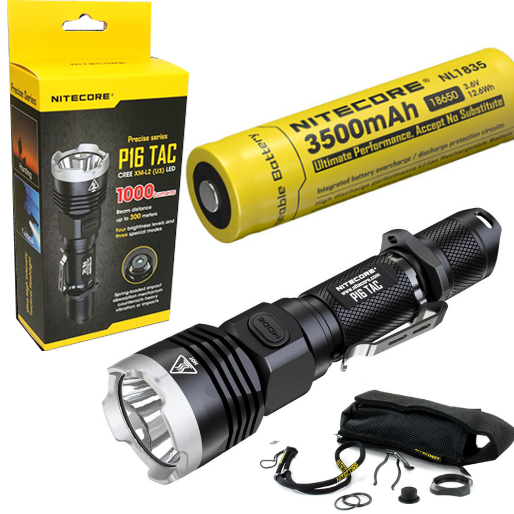 Nitecore P16 TAC 1000 Lumens CREE XM-L2 U3 LED Tactical Flashlight Hunting Search Torchs with 1 x 3400mAh 18650 battery lumintop tactical flashlight p16x 18650 flashlight with battery with cree xm l2 led torch type max670 lumens