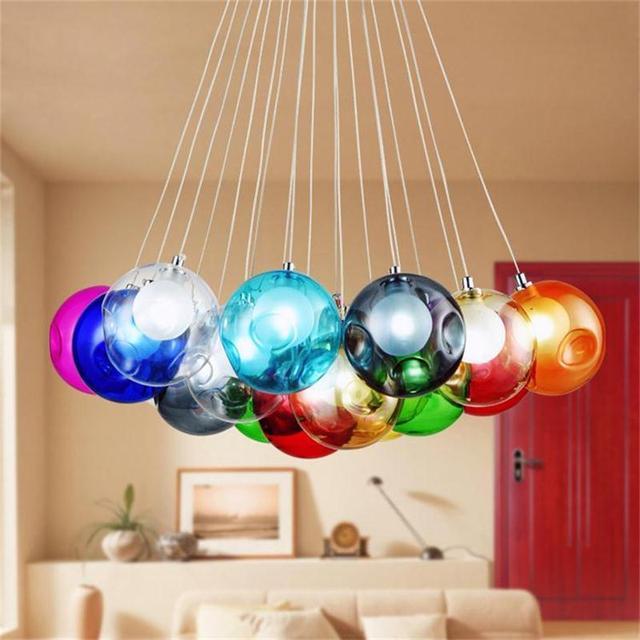 US $97.5 25% OFF|Moderne Bunte Glas Anhänger Lichter Kreative Design  Leuchten für Wohnzimmer Dekoration in Moderne Bunte Glas Anhänger Lichter  ...