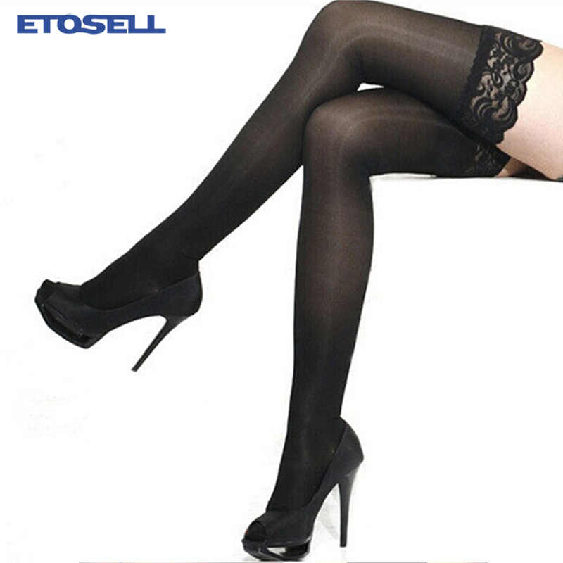 7 Colors Women's Sexy Stocking Sheer Lace Top Thigh High Stockings Nets Pantyhose For Women Female Stockings Black White Red