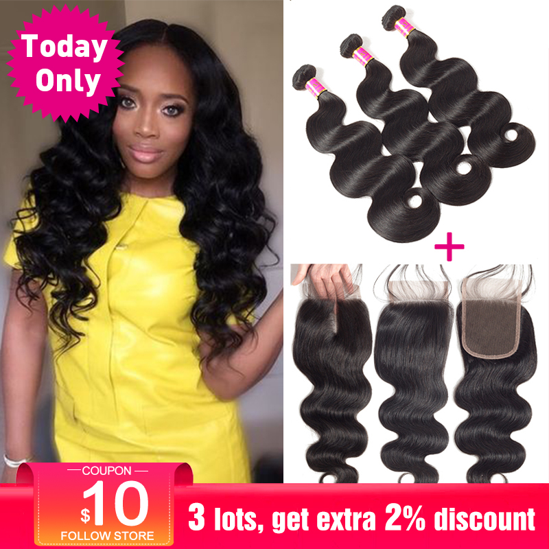 TODAY ONLY Peruvian Body Wave 3 Bundles With Closure Remy Human Hair Bundles With Closure