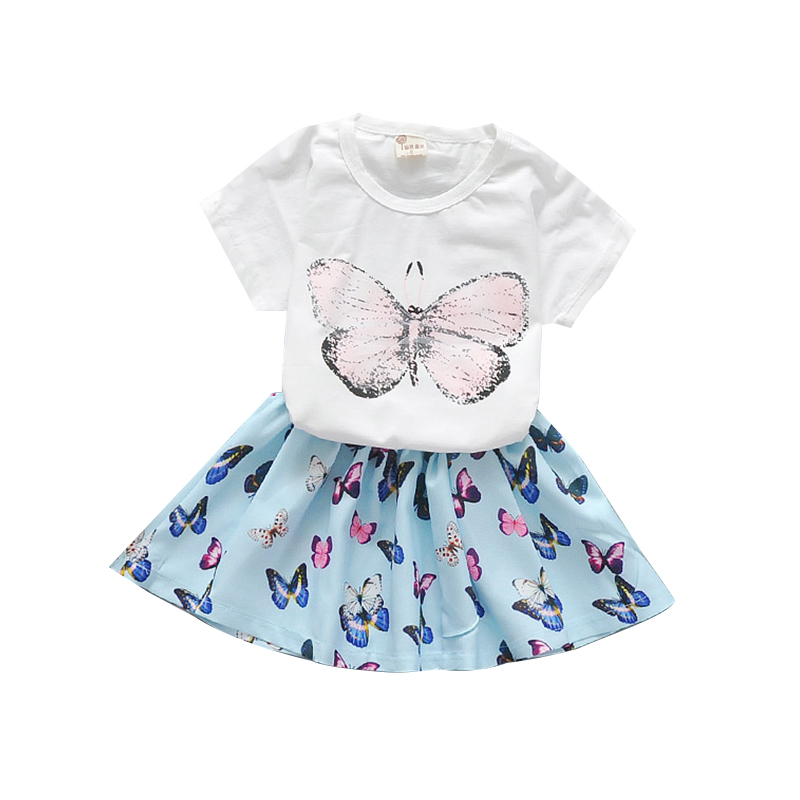 2018 Summer New Baby Girls Clothes Set Printed Butterfly T-shirts + Skirt 2pcs New Born Girls Suit Infant Girls Clothing Sets new born baby girl clothes leopard 3pcs suit rompers tutu skirt dress headband hat fashion kids infant clothing sets