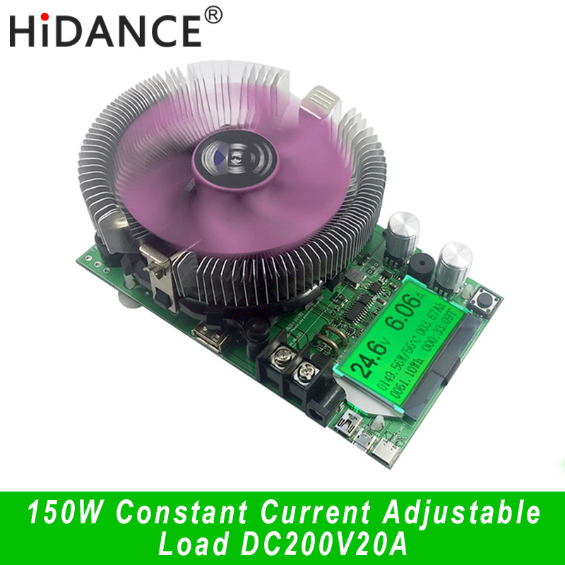 150 W / 180 W DC digitális voltmérő állandó áramerősségű elektronikus terhelés 200 V 20A ameter Kisülési mérő autó akkumulátor Kapacitás volt teszt