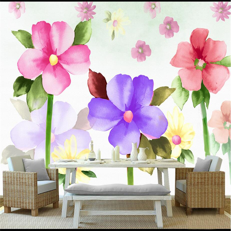 Custom Photo Wallpapers With Flowers Hand Painted Watercolor 3d Wall Covering Bedroom Wall Mural for Living Room Restaurant 3d wall paper mural with any size hand painted balloon lovely cartoon bedroom 3d mural wallpapers for children non woven mural