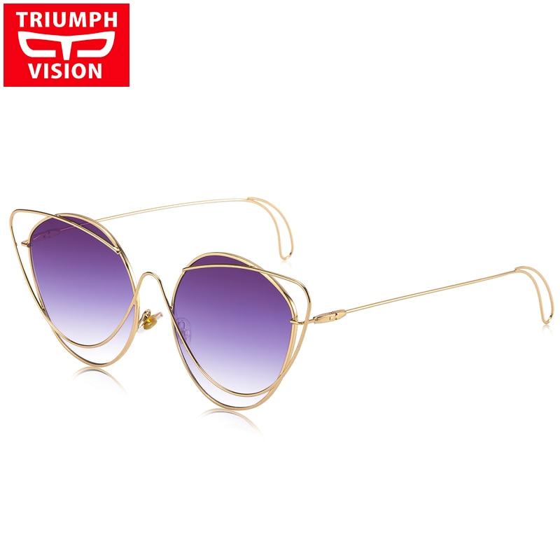 TRIUMPH VISION Stylish Gradient Sunglasses Ladies Cat Eye Small Style Sun Glasses For Women Hollow Designer Female Shades
