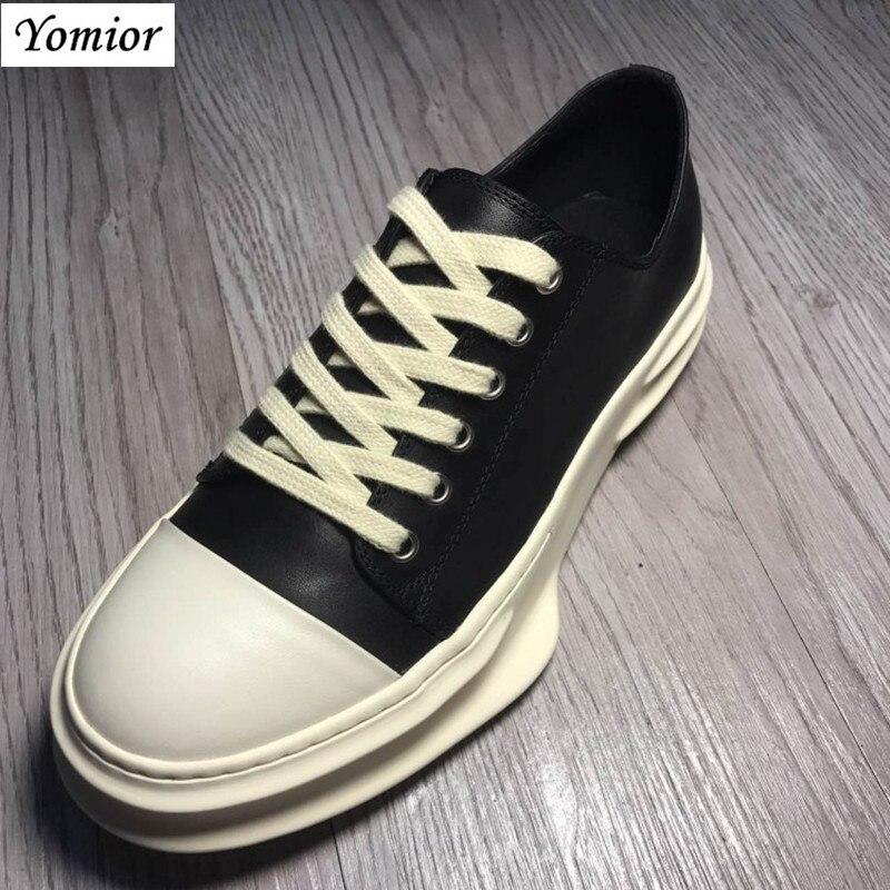 Yomior hecho a mano nuevo estilo primavera cuero genuino hombres zapatos Unisex moda Casual transpirable de lujo marca tendencia zapatillas de gran tamaño - 5