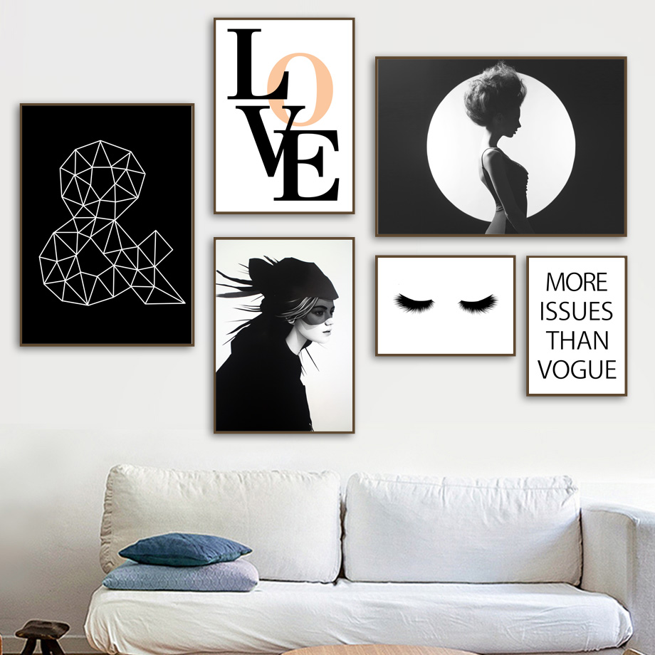 Us 3 13 47 Off Wall Art Canvas Painting Model Girl Eyelash Quotes Nordic Posters And Prints Black White Wall Pictures For Living Room Salon In