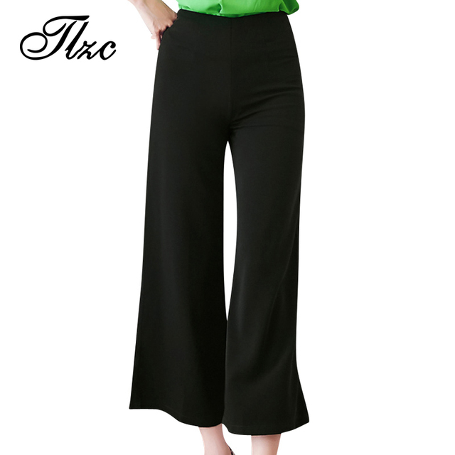 66074c07a4f TLZC Mother Gift Women Loose Trousers Solid Color Black   Green Plus Size  M-6XL Comfortable Women Casual Wide Leg Pants
