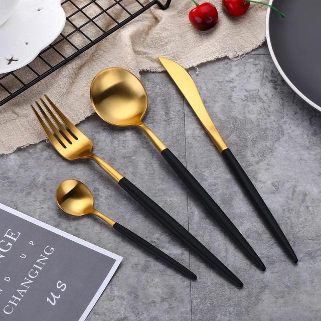 Cheap 4Pcs Black Gold Flatware Set Stainless Steel Cutlery