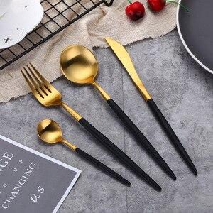 Image 2 - Conjunto de talheres dourados pretos, barato 4pcs conjunto de talheres em aço inoxidável, faca, garfo, conjunto de talheres, utensílios de mesa, conjunto de comida ocidental