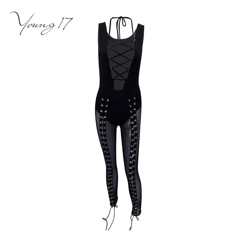 Young17 jumpsuit romper skinny patchwork patchwork mesh lace up pencil pants female fashion new sexy bodysuit women jumpsuit