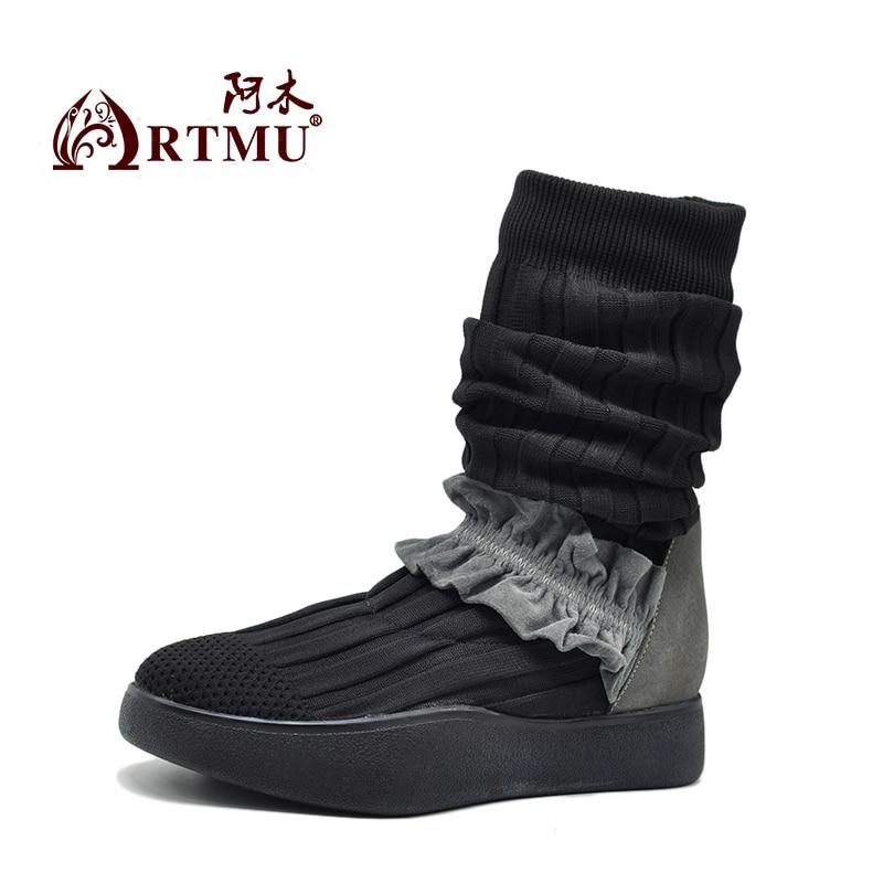 Artmu Botas Chaussures mollet Tricoté Bottes Femmes Main Mujer Gris La Sneakers D'origine Mi Robe Minimalistes À rRHxrq
