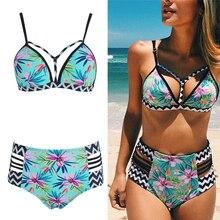 KLV Bikini Set High Waist Swimsuit Women Push Up Swimwear Sexy Print Brazilian Beach Bathing Suit